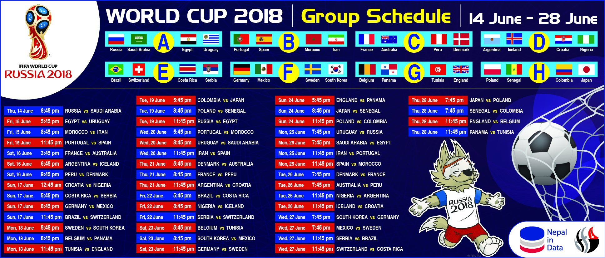 WORLD CUP 2018 GROUP SCHEDULE, 14 JUNE - 28 JUNE | NiD - Infograph